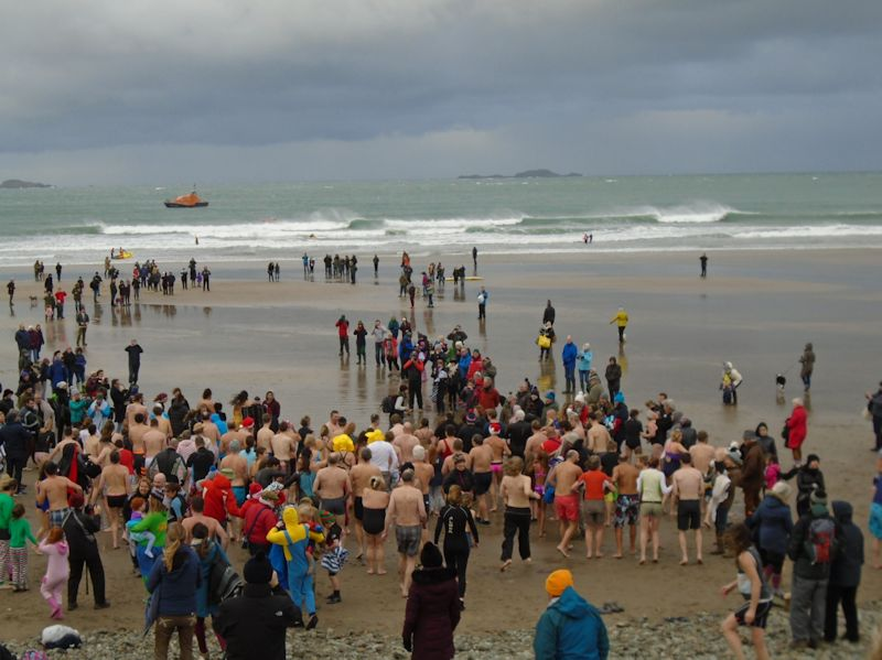 NYD swim Whitesands Beach, St Davids, Pembrokeshire Wales with lifeboat in attendance