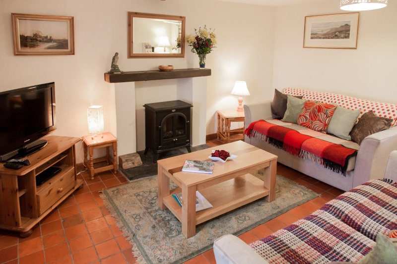 Relaxing sitting room in holiday cottage, St Davids, Pembrokeshire, Wales UK